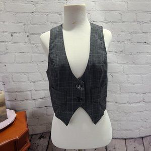 copper key black plaid vest with pockets